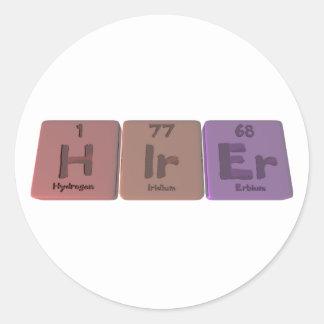Hirer H-Ir-Er Hydrogen Iridium Erbium Classic Round Sticker