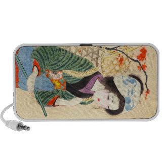 Hirezaki Eiho Beauties of the Twelve Months, Bijin Travelling Speaker