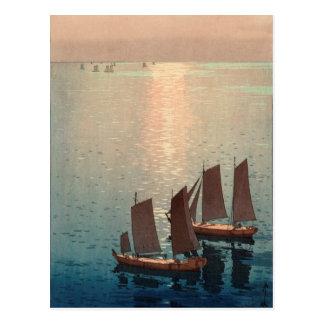 Hiroshi Yoshida's Sparkling Sea Japanese Woodblock Postcard
