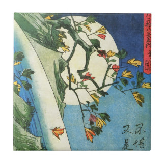 Hiroshige Moon Over A Waterfall Japanese Fine Art Small Square Tile