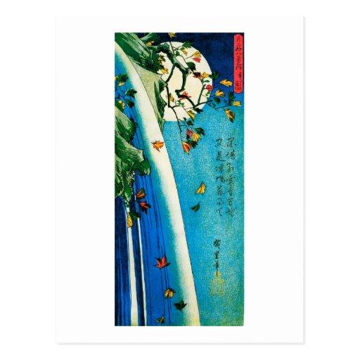 Hiroshige Moon Over Waterfall Fine Art Post Card