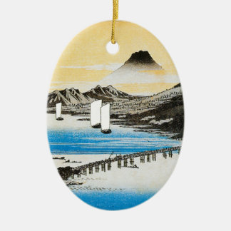 Hiroshige Mt. Fuji Japanese Art Christmas Ceramic Oval Decoration
