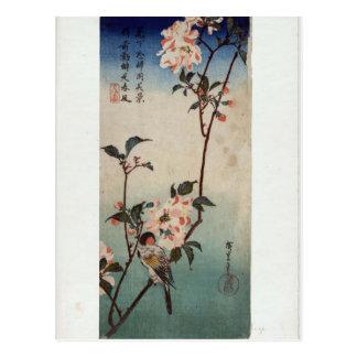 Hiroshige: Small Bird on a Branch of Kaidozakura Postcard