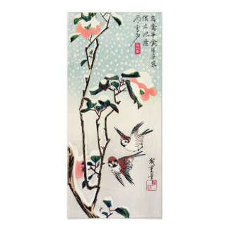 Hiroshige Sparrows and Camellias in the Snow Print Art Photo