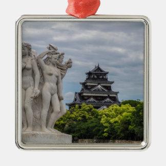 Hiroshima Castle Silver-Colored Square Decoration