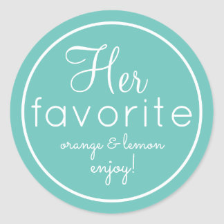 His and Her aqua favorite wedding favor stickers