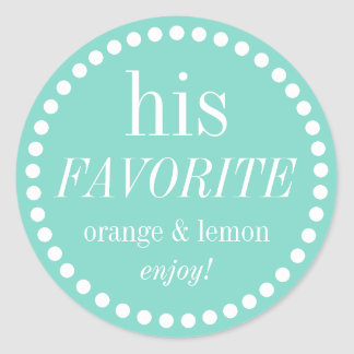 His and Her blue favorite wedding favor stickers
