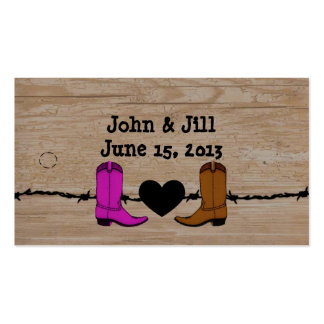 His And Her Cowboy Boots Wedding Favor Hang Tag Pack Of Standard Business Cards