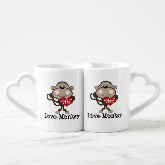 His and Her Love Monkey Couples Coffee Mug Set