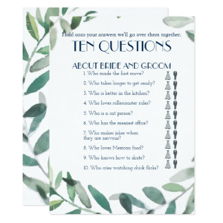 His and Her Ten Questions Wedding Game Card