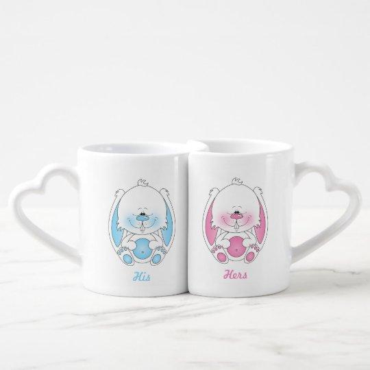His and Hers Baby Bunny Cartoon Coffee Mug