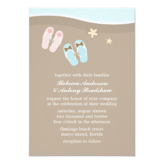 His and Hers Flip Flops Beach Wedding Card