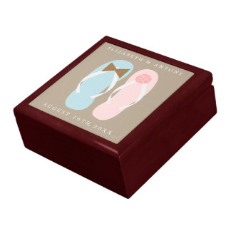 His and Hers Flip Flops Beach Wedding Gift Box