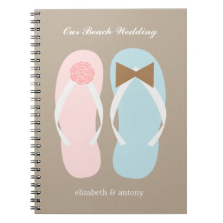 His and Hers Flip Flops Beach Wedding Planner Spiral Notebook