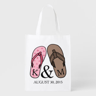 His and Hers Monogrammed Wedding Flip Flops Reusable Grocery Bag