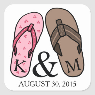 His and Hers Monogrammed Wedding Flip Flops Stickers
