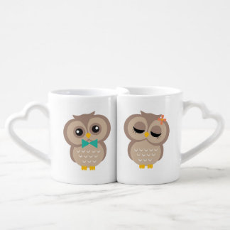 His and Hers Owl Couple Coffee Mug Set