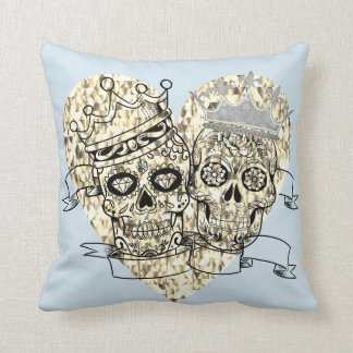 His and Hers Sugar skulls w/ crowns Throw Pillow