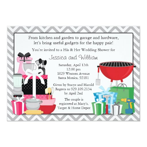 His and Hers Wedding Shower Invitation Zazzle
