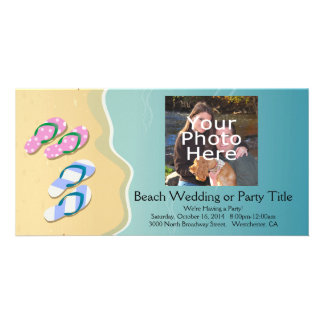His/Hers Flip Flops on the Beach Photo Cards