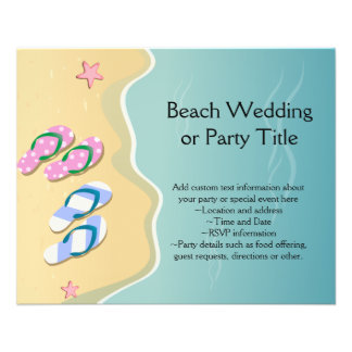 His/Hers Flip Flops on the Beach Wedding 11.5 Cm X 14 Cm Flyer