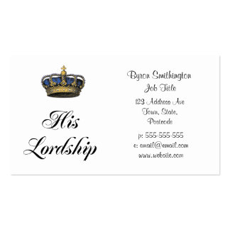 His Lordship Double-Sided Standard Business Cards (Pack Of 100)