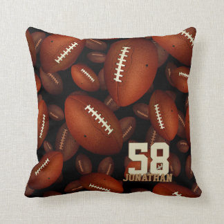 his name and jersey number footballs pattern throw pillow