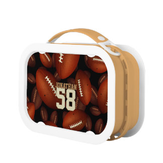 his name jersey number boys' footballs pattern lunch box