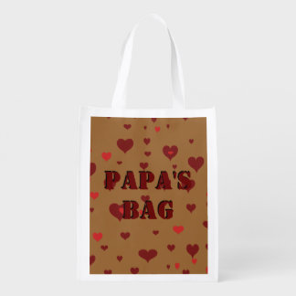 His Name Stenciled  - Brown Background with Hearts Reusable Grocery Bag