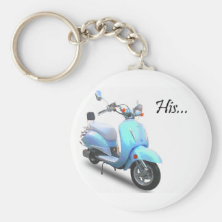 His Scooter Basic Round Button Key Ring