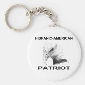 Hispanic-American Patriot Basic Round Button Key Ring