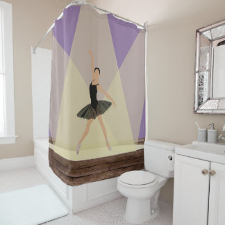 Hispanic Ballerina on Stage Shower Curtain