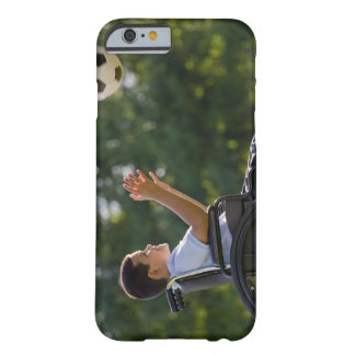 Hispanic boy, 8, in wheelchair with soccer ball barely there iPhone 6 case