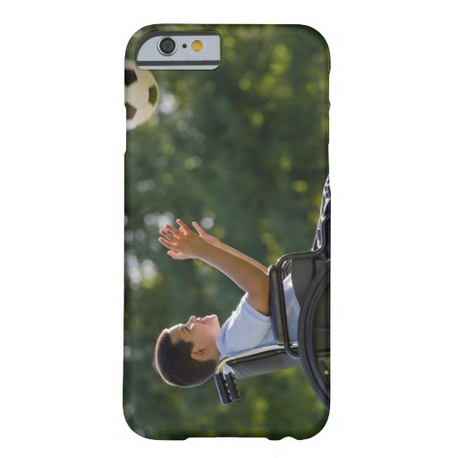 Hispanic boy, 8, in wheelchair with soccer ball iPhone 6 case