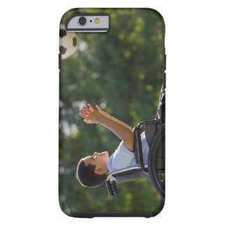 Hispanic boy, 8, in wheelchair with soccer ball tough iPhone 6 case