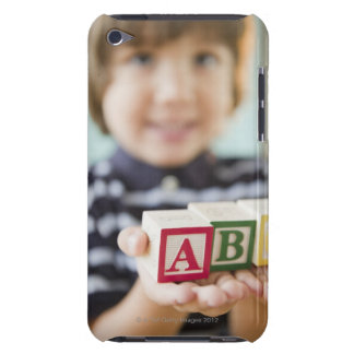 Hispanic boy holding alphabet blocks barely there iPod cover