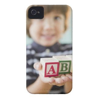 Hispanic boy holding alphabet blocks iPhone 4 Case-Mate case