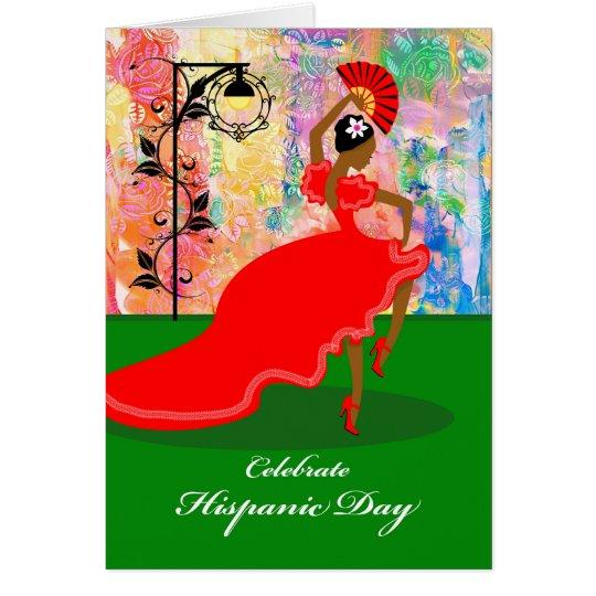 Hispanic Day, Flamenco Dancer in Red Dress, Fan