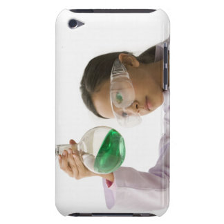 Hispanic girl looking at liquid in beaker barely there iPod cases