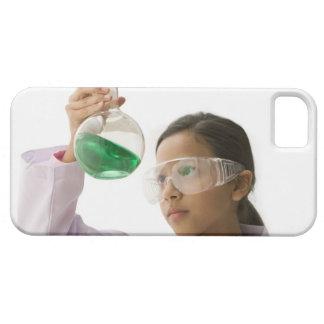 Hispanic girl looking at liquid in beaker iPhone 5 case