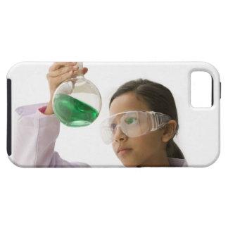 Hispanic girl looking at liquid in beaker iPhone 5 cover