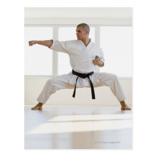 Hispanic male karate black belt in fighting post cards
