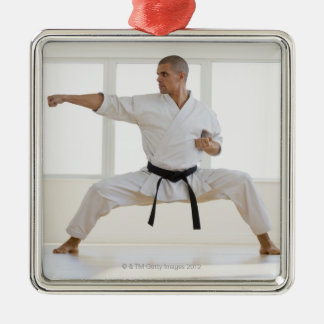 Hispanic male karate black belt in fighting Silver-Colored square decoration