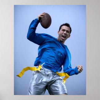 Hispanic man throwing a football poster