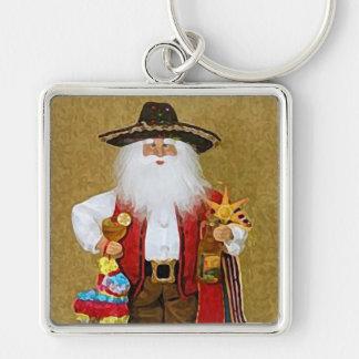 Hispanic Mexican Southwestern Texan Santa Claus Silver-Colored Square Key Ring