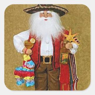 Hispanic Mexican Southwestern Texan Santa Claus Square Sticker