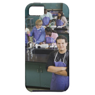 Hispanic student standing in chemistry lab iPhone 5 cases