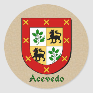 Hispanic Surname Acevedo Family Shield Stickers