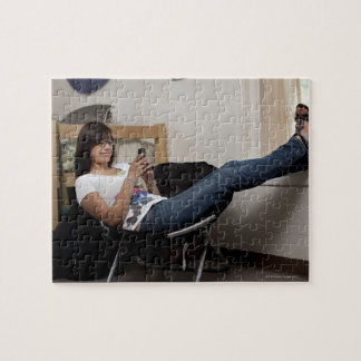 Hispanic woman hanging out in college dorm room jigsaw puzzle