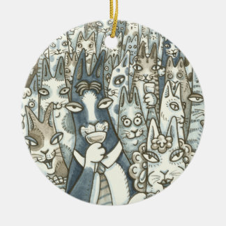 Hiss N' Fitz CAT PARTY CHRISTMAS ORNAMENT Round
